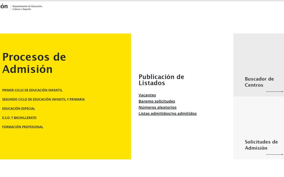 Proceso de Escolarización de Educación Infantil y Educación Primaria 2021-2022